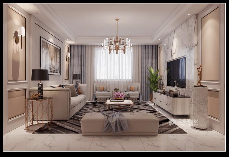 143平团结园简欧风格-客厅效果图及设计说明