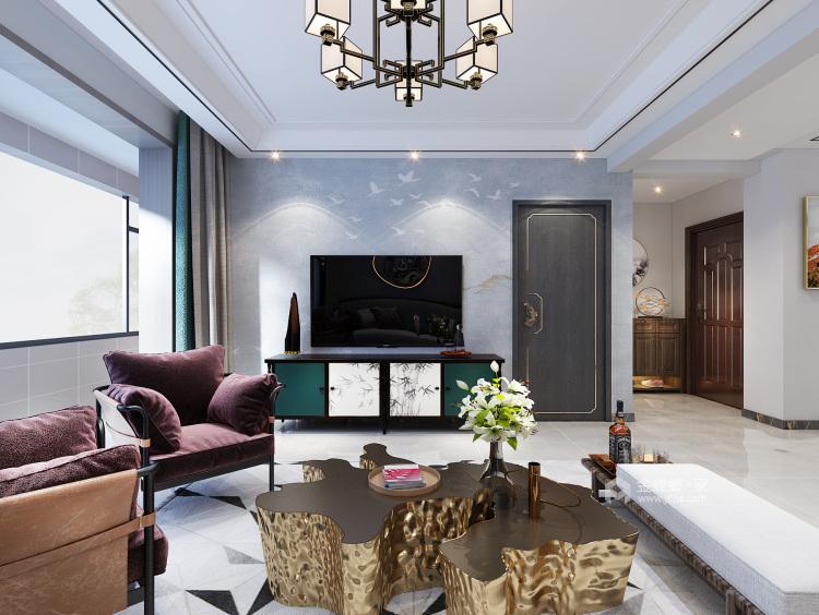 130平锦绣新城新中式风格-客厅效果图及设计说明