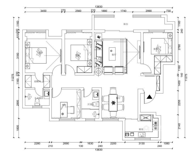 130平锦绣新城新中式风格-平面设计图及设计说明