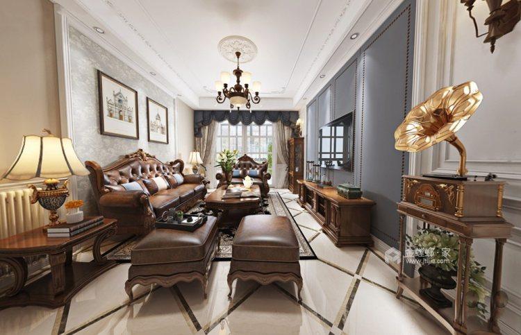 170平清河雅苑美式风格四居-客厅效果图及设计说明