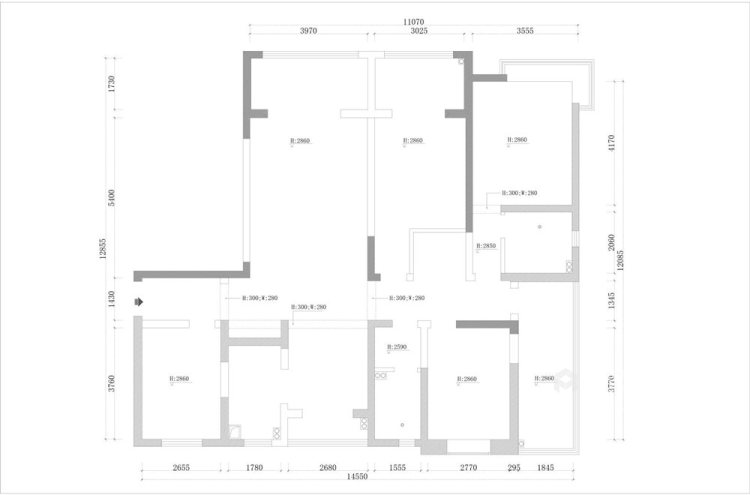170平清河雅苑美式风格四居-业主需求&原始结构图
