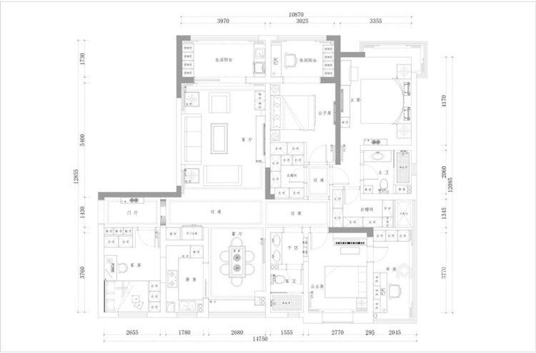 170平清河雅苑美式风格四居-平面设计图及设计说明