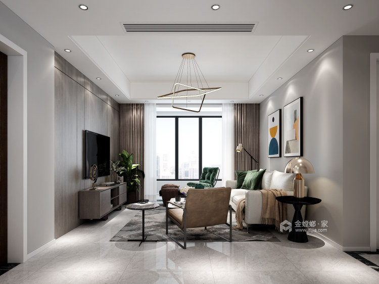 116平禹州嘉荟星岛现代风格-纯粹高级内敛-客厅效果图及设计说明