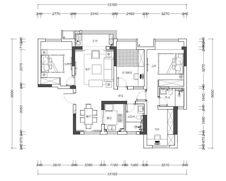 116平禹州嘉荟星岛现代风格-纯粹高级内敛-平面设计图及设计说明