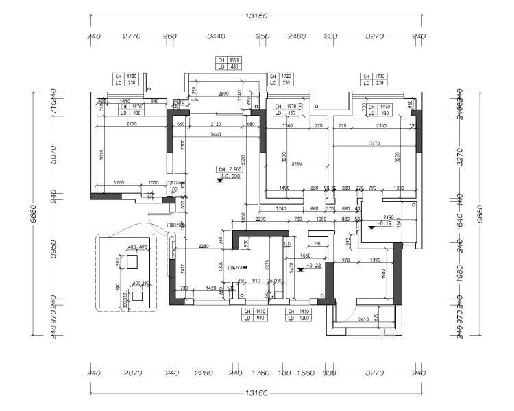 116平禹州嘉荟星岛现代风格-纯粹高级内敛-业主需求&原始结构图