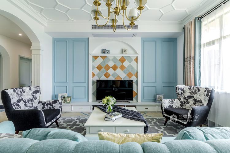158平人文嘉园地中海风格-宁静闲适,自然安详-客厅效果图及设计说明