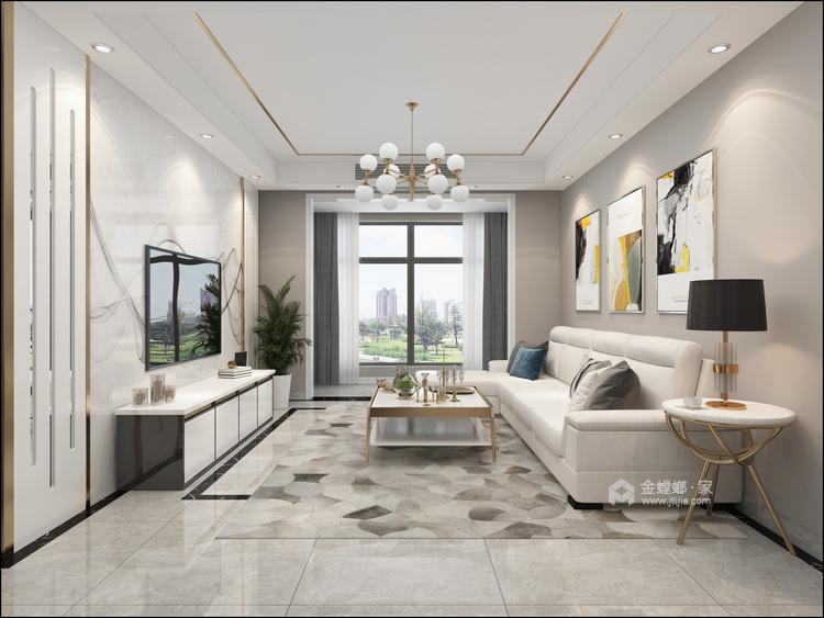 105平远大汇港小区现代风格-客厅效果图及设计说明