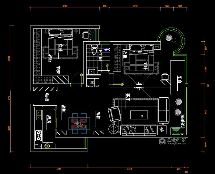105平远大汇港小区现代风格-平面设计图及设计说明