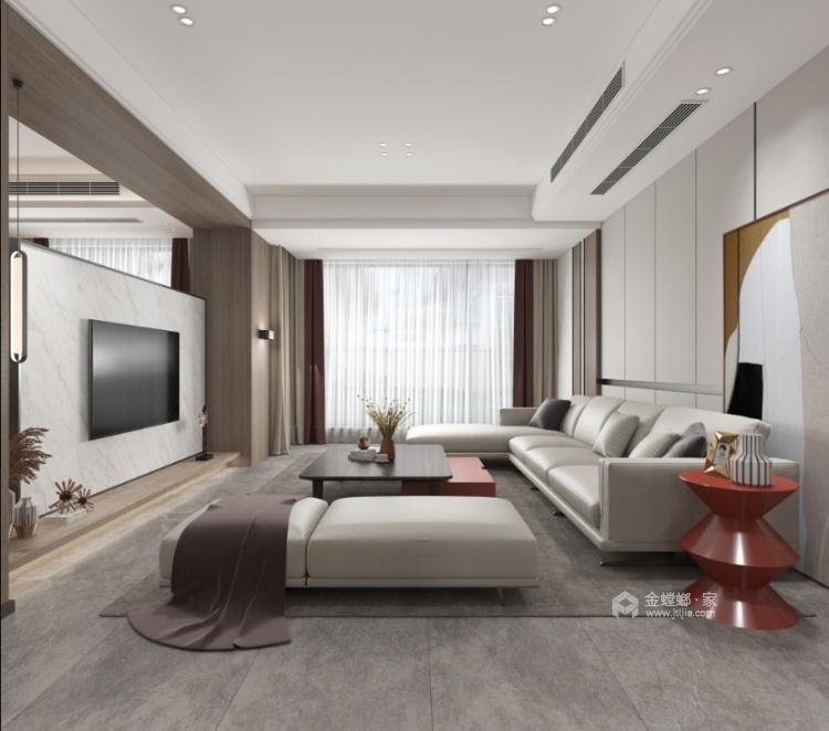 220平建发独墅湾现代风格-简单纯粹的雅致大宅-客厅效果图及设计说明