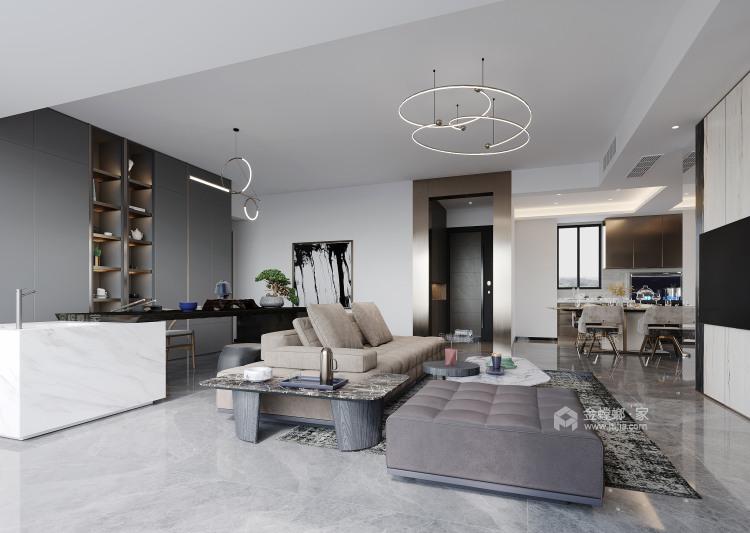 134平城投广场现代风格-客厅效果图及设计说明