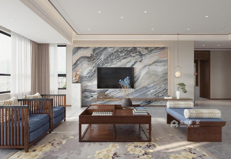 180平麓山霖语新中式风格-客厅效果图及设计说明