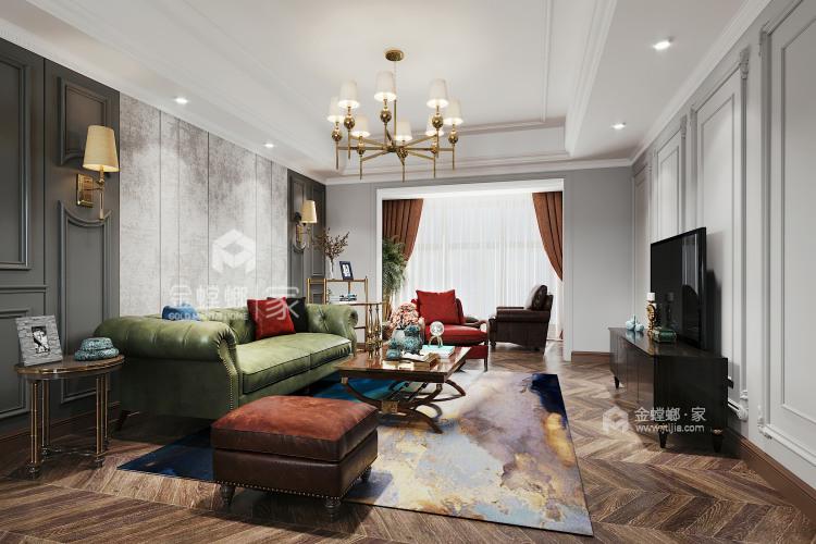 120平万达华府美式风格-客厅效果图及设计说明
