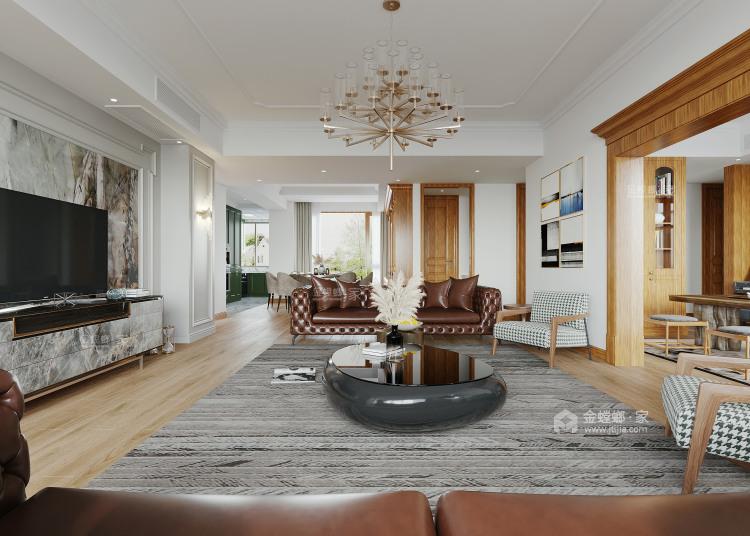 172平吉祥府邸美式风格-客厅效果图及设计说明