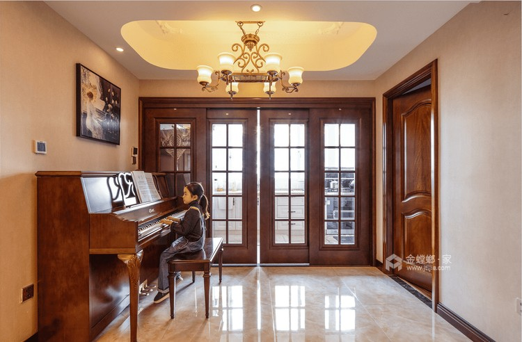 140平丽丰一品美式风格-浪漫不羁的美式-客厅效果图及设计说明