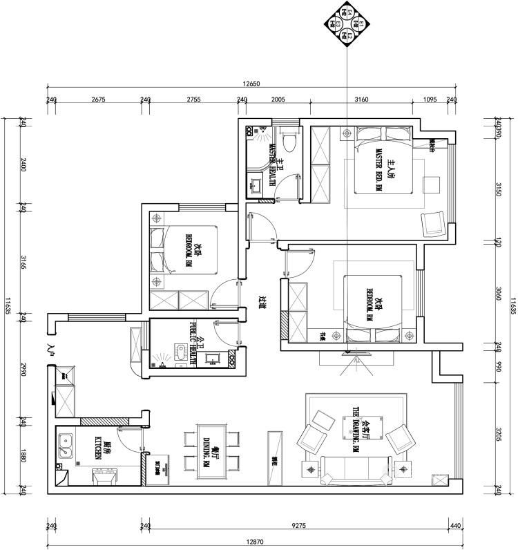 125平领地国际公馆现代风格-平面设计图及设计说明