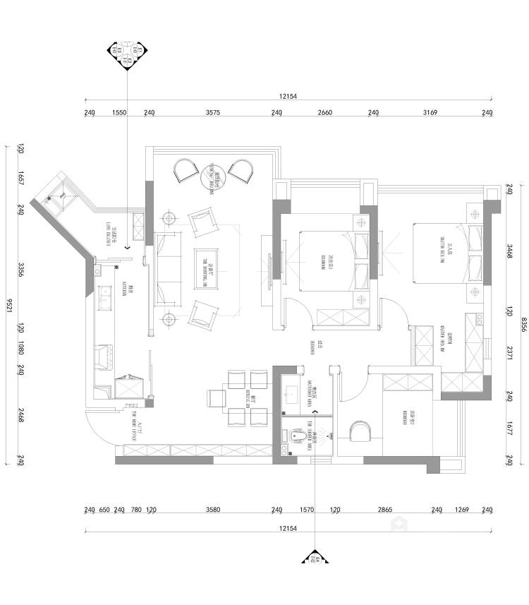 110平君悦湾现代风格-平面设计图及设计说明