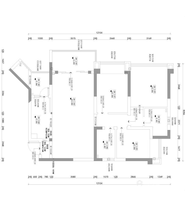110平君悦湾现代风格-业主需求&原始结构图