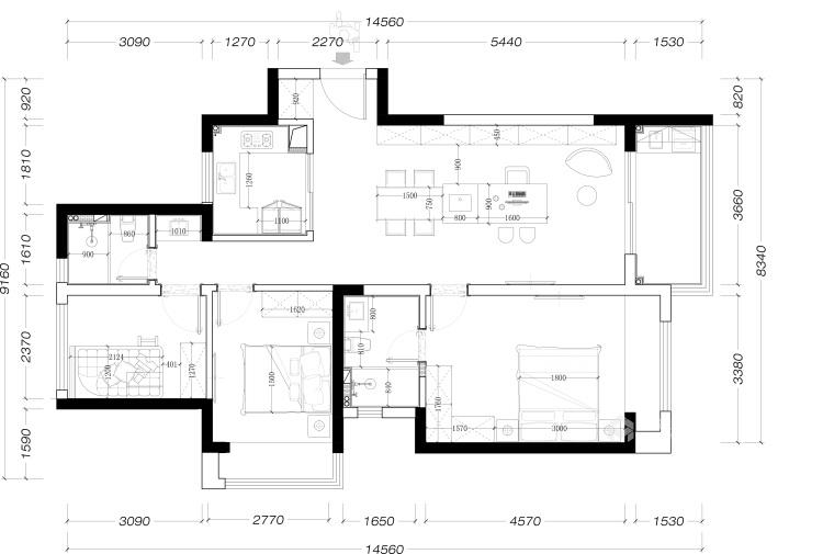 115平建发泱誉现代风格-独一无二的享受-平面设计图及设计说明