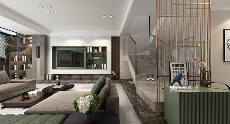 180平南山楠现代风格-沁人心脾的清新绿-客厅效果图及设计说明