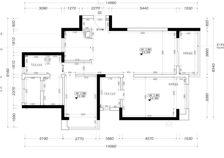 115平建发泱誉现代风格-独一无二的享受-业主需求&原始结构图