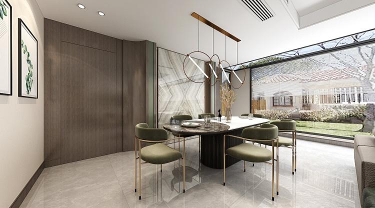180平南山楠现代风格-沁人心脾的清新绿-餐厅效果图及设计说明