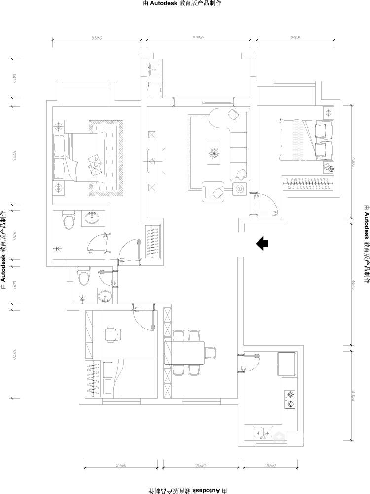 138平君临城市花园简美风格-素雅美式轻奢,年轻人都会喜欢的小资情调!-平面设计图及设计说明