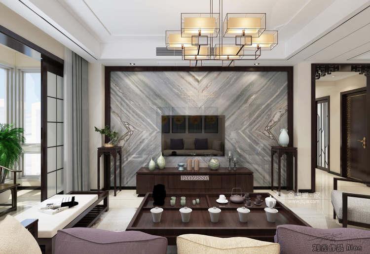 135平皖新文化广场新中式风格-浮光掠影-客厅效果图及设计说明