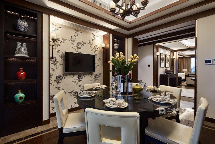 165平御景城新中式风格-闲居雅趣-餐厅效果图及设计说明