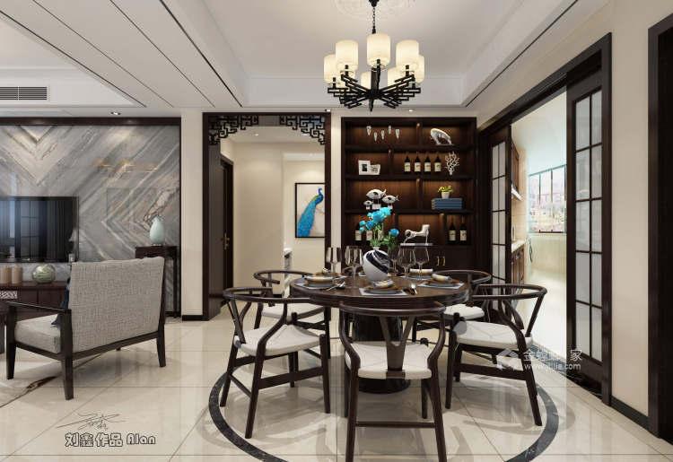 135平皖新文化广场新中式风格-浮光掠影-餐厅效果图及设计说明