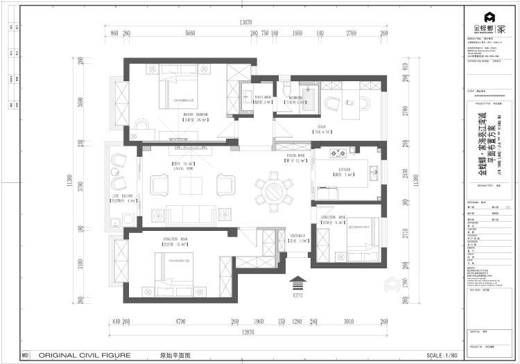 135平皖新文化广场新中式风格-浮光掠影-平面设计图及设计说明