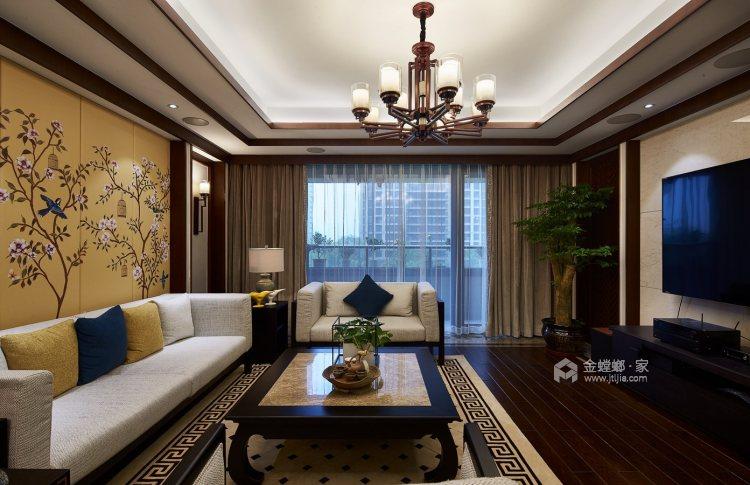 165平御景城新中式风格-闲居雅趣-客厅效果图及设计说明