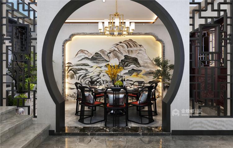 320平庄子别墅中式风格-春花秋月 夏蝉冬雪-餐厅效果图及设计说明