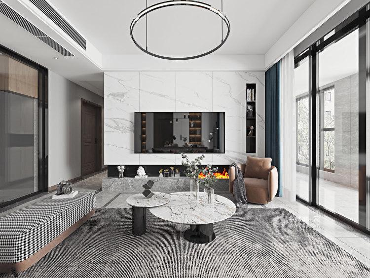 135平汀海壹品现代风格-雅韵-客厅效果图及设计说明