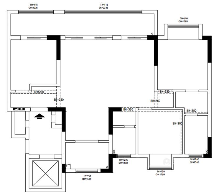 135平汀海壹品现代风格-雅韵-业主需求&原始结构图