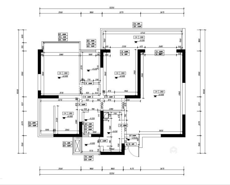 116平紫境府简美风格-业主需求&原始结构图