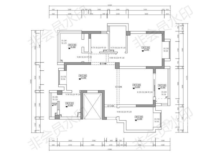 110平花径美邻现代风格-业主需求&原始结构图