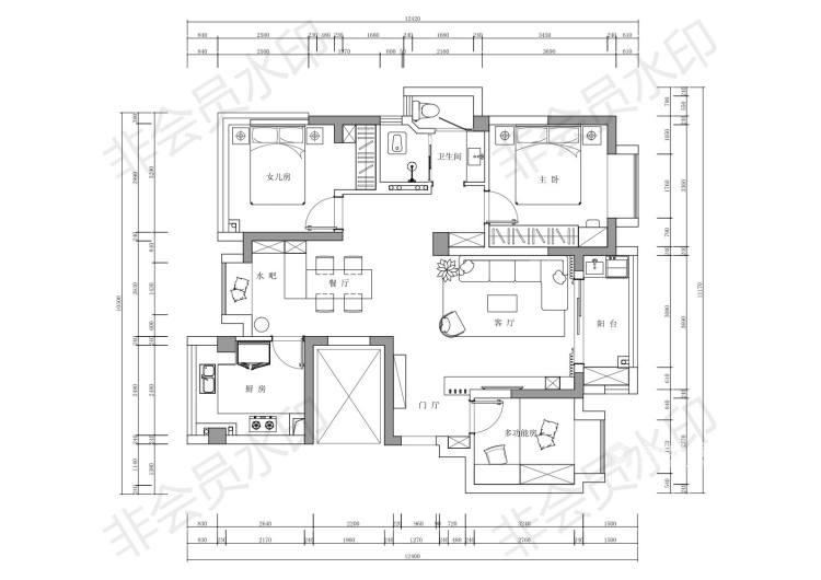110平花径美邻现代风格-平面设计图及设计说明