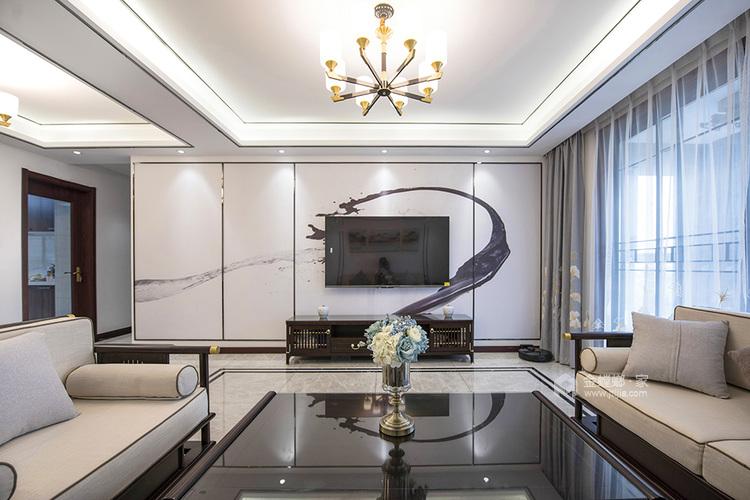 145平弘阳尊邸新中式风格-东篱清雅-客厅效果图及设计说明