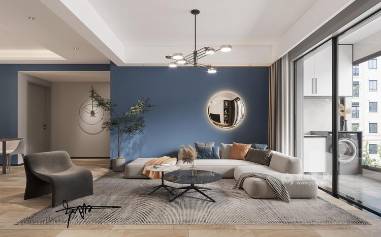 110平花径美邻现代风格-客厅效果图及设计说明
