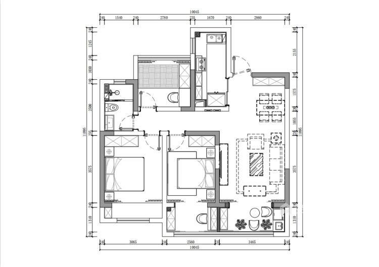 98平南山楠现代风格-心灵安防之所-平面设计图及设计说明