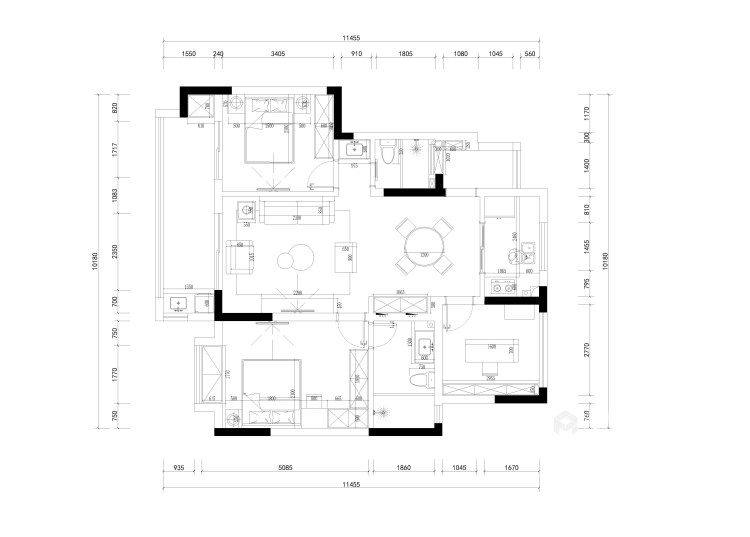 105平三千邑现代风格-简约时尚的设计  让家充满慵懒的舒适-平面布置图