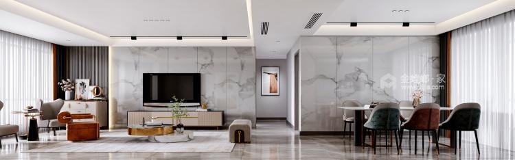 140平橡树湾欧式风格-格调之余~轻奢气质-客厅效果图及设计说明