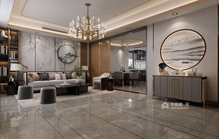 280平中海万锦园新中式风格-流印古意-客厅效果图及设计说明