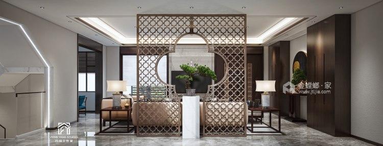 350平梧桐邑新中式风格-诗意东方-客厅效果图及设计说明