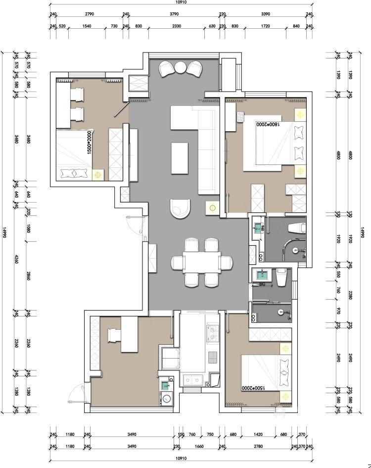 137平华润紫云府现代风格-轻奢初冬气息之美-平面设计图及设计说明