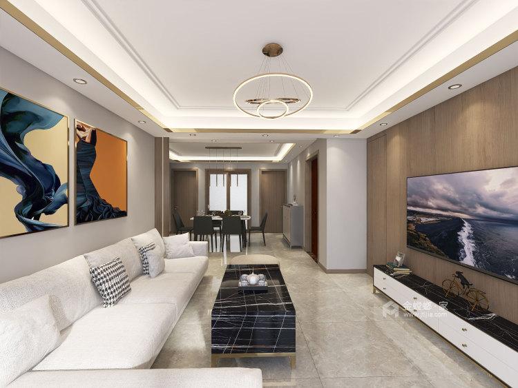 137平华润紫云府现代风格-轻奢初冬气息之美-客厅效果图及设计说明