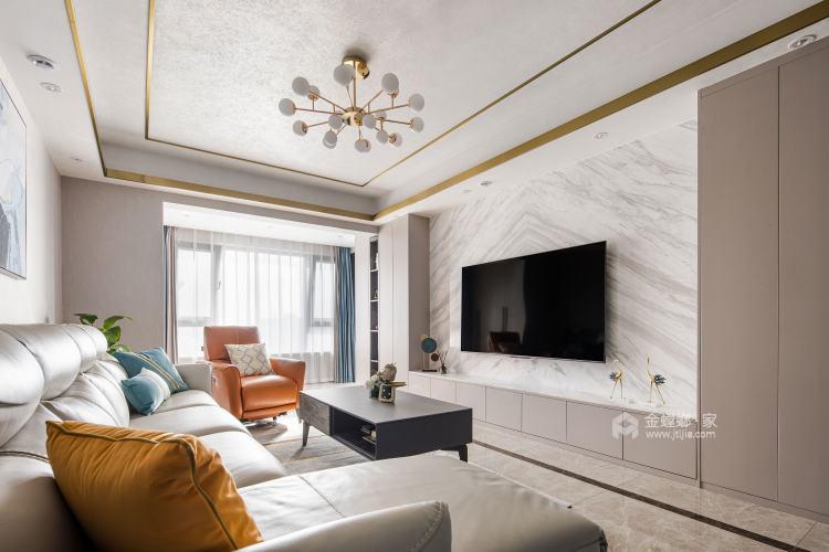 140平中梁1号院现代风格-舒适3口之家-客厅效果图及设计说明