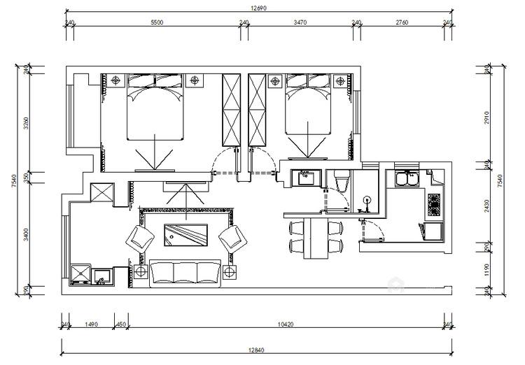 100平金鹰花园现代风格-恰到好处的现代轻奢风-平面设计图及设计说明