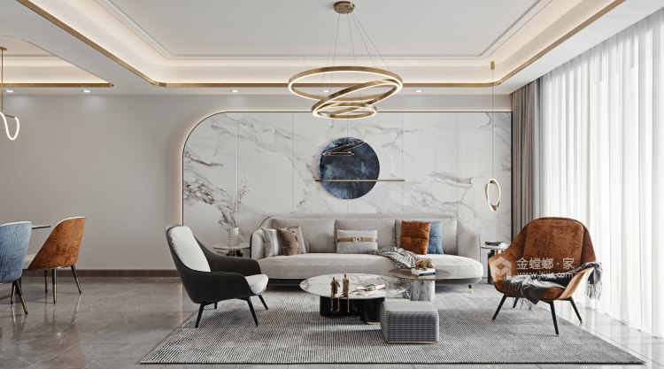 100平金鹰花园现代风格-恰到好处的现代轻奢风-客厅效果图及设计说明