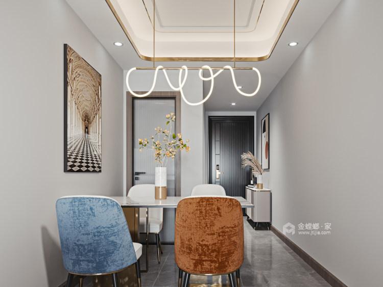 100平金鹰花园现代风格-恰到好处的现代轻奢风-餐厅效果图及设计说明
